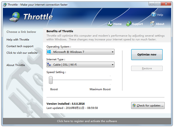 Throttle(网络加速软件) V8.8.8.2016 英文绿色版